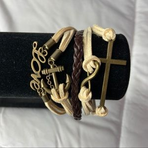 Jewelry - Nautical leather braided layered charm bracelet